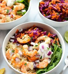 Eat the rainbow with these delicious Cilantro Lime Shrimp Bowls made with fresh shrimp, brown rice, cabbage slaw, and a homemade Greek yogurt dressing! Clean Eating Recipes, Healthy Eating, Cooking Recipes, Healthy Recipes, Healthy Meals, Healthy Food, Seafood Recipes, Dinner Recipes, Cilantro Lime Shrimp
