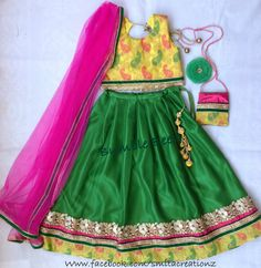 Yellow Green Lehenga set at Bumble Beez Designer Dresses.