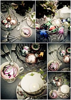 Vintage china hire and Xmas baubles by Itsy Bitsy Vintage.
