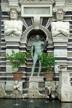 One of our favorite day trips from Rome is to Tivoli where you find the magnificent Renaissance beauty Villa d'Este. Italy Vacation, Italy Travel, Tivoli Villa D'este, Tivoli Italy, Tivoli Roma, Statues, Visit Rome, Day Trips From Rome, Places In Italy