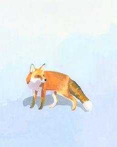 animal print fox art Fox 1 by ElizabethMayville on Etsy