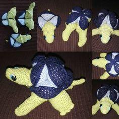 Doudou puzzle tortue crocheté