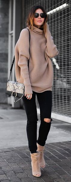 53 Flawless Winter Outfit Ideas You Need To Copy Fall Outfits 2018, Fall Winter Outfits, Autumn Winter Fashion, Fall Fashion, Nude Outfits, Fashion Outfits, Womens Fashion, Knit Fashion, Unique Outfits