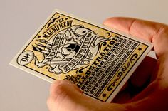 American artist Dane Holmquist created the illustration for these letterpress business cards himself