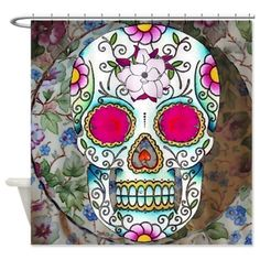 Tea Cup Sugar Skull Shower Curtain  @CharlesNcassidy   café press has some badass stuff for the home!