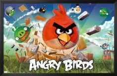 Professionally Framed Angry Birds Video Game Poster Print - 22x34 with RichAndFramous Black Wood Frame --- http://rews.us/if