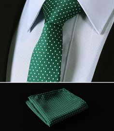 "TD119G6 Green Polka Dot 2.4"" 100%Silk Woven Slim Skinny Narrow Men Tie Necktie Handkerchief Pocket Square Suit Set"
