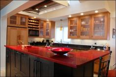 Kitchen, Red Granite Countertop Beautify Black Kitchen Island In Contemprary Kitchen Concept: Get Exclusive Impression With Granite Kitchen ...