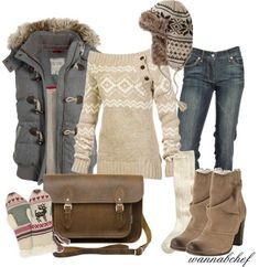 30 Warm And Cozy Polyvore Combinations For The Winter - love the sweater and that cozy looking vest