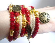 Bracelets for women, Red and gold retro bracelet, Wrap memory wire bracelet, Bronze charms bracelet, Angel wing, Watch charms bracelet