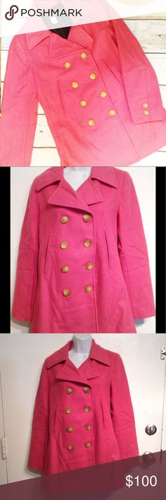 J. CREW Factory Store Pink Wool Pea Coat J. Crew Factory store pink double breasted wool pea coat. Great pop of color on a classic staple item. Size small. Perfect to keep you warm and stylish all winter. No modeling. Smoke free home. I do discount bundles. J. Crew Jackets & Coats Pea Coats