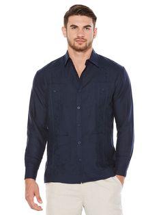 Long Sleeve Embroidered Classic Guayabera, Dress Blues, hi-res