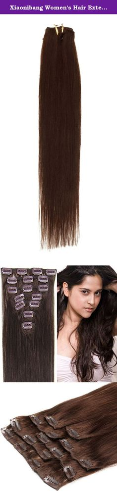 Xiaonibang Women's Hair Extensions Clip in Remy Human Hair 7pcs 24inch (02 Dark Brown). Clips in human Hair Extensions Long soft Silky straight 100% human hair extension. Specification Length:15-24 Inches Availble Color more 23 Colors for choose Weight :Different size different weight ,15inch 70g with clips,18inch 70g with clips,20inch 70g with clips,22inch 80g with clips,24inch 100g with clips Texture: Straight Hair type : 100% human hair High quality, tangle free,silky soft Quality…