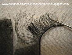 How to make eyelashes for your Amigurumi dolls! This is so clever!  Use black organza or organdy ribbon.