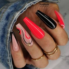 Glam Nails, Fancy Nails, Stylish Nails, Trendy Nails, Red Acrylic Nails, Ombre Nail Art, Nagellack Design, Coffin Shape Nails, Luxury Nails