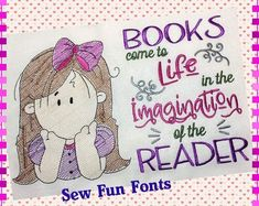 Books Come To Life With Thinking Girl Wispy Filled Design Machine Embroidery Projects, Embroidery Software, Embroidery Supplies, Embroidery Techniques, Quilting Projects, Sewing Projects, Quilting Ideas, Book Pillow, Reading Pillow