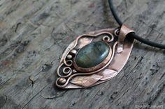 Copper pendant metalwork necklace metalsmith by LenaSinelnikArt