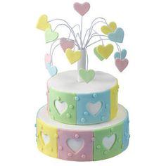 Corazón de fuegos artificiales de la torta