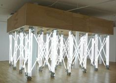 bluebirdsfloat: alejandro almanza pereda - Andamio light bulbs , forged steel clamps, ballasts, woodArt in Genera Light Bulb Art, Lamp Light, Neon Artwork, Internet Art, Fluorescent Lamp, Exhibition Display, Light Installation, Art Installations, Neon Lighting