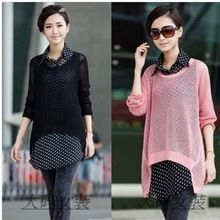 2014 new arrival sale sweater women pullover women plus size clothing mm spring and autumn cutout sweater twinset chiffon shirt(China (Mainland))