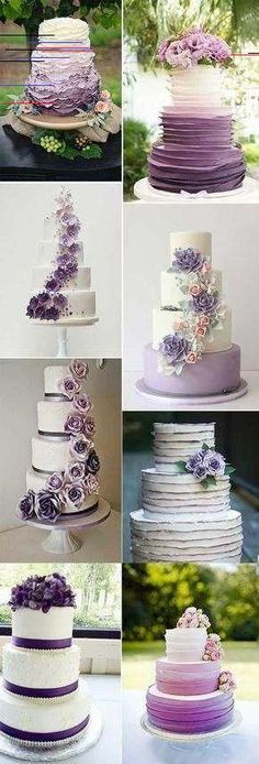Purple wedding invitations - No way >> Lovely Wedding Cakes Pictures super Purple Cakes, Purple Wedding Cakes, Purple Wedding Invitations, Wedding Cake Rustic, Fall Wedding Cakes, Elegant Wedding Cakes, Fall Wedding Colors, Elegant Cakes, Wedding Cake Designs