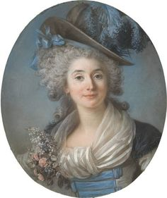 From National Gallery of Art, Washington, D., Adélaïde Labille-Guiard, A Fashionable Noblewoman Wearing a Plumed Hat (ca. Pastel on blue laid pape… National Gallery Of Art, 18th Century Costume, 18th Century Fashion, 19th Century, Miniature Portraits, Beautiful Paintings, Art History, Lady, Illustration
