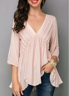 Pink Asymmetric Hem V Neck Blouse on sale only US$31.11 now, buy cheap Pink Asymmetric Hem V Neck Blouse at liligal.com