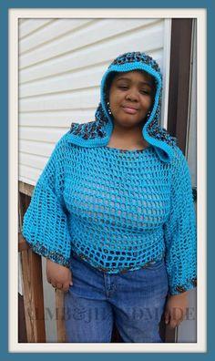 Crochet Mesh Sweater , Crochet Mesh Shrug , Hooded Sweater , Hooded Shrug , Mesh Sweater , Mesh Shrug , Crochet Top  / Aqua Blue / Browns
