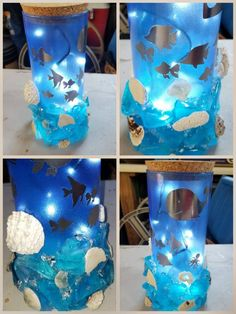 Lighted Whale Bottle Nightlight Lighted Beachy Bottle Under Summer Crafts For Toddlers, Mothers Day Crafts For Kids, Art For Kids, Sea Crafts, Seashell Crafts, Diy And Crafts, Wine Bottle Crafts, Bottle Art, Diy Gifts For Dad