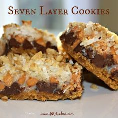 Seven layer cookies are possibly my favorite cookies of all-time. Would be so easy to make gluten free if I just switched out the graham crackers. YUM!