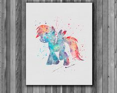 Pony Rainbow Dash, My Little Pony poster - Art Print, instant download, Watercolor Print, poster