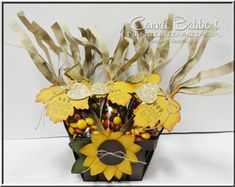 Stampin' Up!'s A Little Something and Festive Flower Punch to create a sunflower Berry Basket filled with Indian Corn favors!  Leaflet Framelits, fall, autumn, #stampinup, favor, box, created by Connie Babbert, www.inkspiredtreasures.com