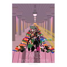 Paris - Marché de Grenelle  Affiche de Collection, signée et numérotée Style : ancien, minimaliste, design, scandinave, colorée, publicité, pub ancienne, moderne, contemporrain, artwork, Eric Garence Sujet : Côte d'Azur, village, provence, French Riviera, mer, sea, summer, travel, sunset, sunrise, paris, Eiffel Tower, by night, bir hakeim bridge, france, romantic, montmartre, tertre, painting, cats, champs elysées, cars, moon, glamour, chic, 75015, Wedding, mariage, eat