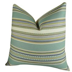 """Plutus Chic Stripe Aloe Handmade Double Sided Throw Pillow (Double sided 16"""" x 16""""), Green, Size 16 x 16 (Cotton, Applique)"""