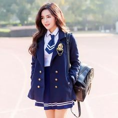 School Girl Dress, School Dresses, School Outfits, Ulzzang Fashion, Harajuku Fashion, Korean Fashion, Cute School Uniforms, School Uniform Fashion, Stage Outfits