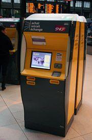 French Railways (SNCF) self-service ticket machine at Paris Gare de Lyon