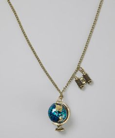 Look at this #zulilyfind! Bubbly Bows Gold Globe Pendant Necklace by Bubbly Bows #zulilyfinds