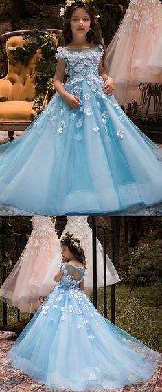 Unique Tulle & Elasticated Net Bateau Neckline Ball Gown Flower Girl Dresses With 3D flowers & Hot Fix Rhinestones