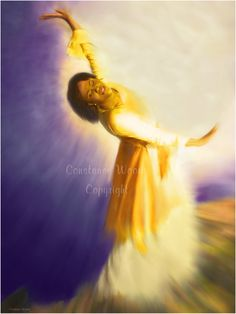 """Pressing Into Glory  This beautiful worshipper is lost in His Presence, as she dances before her Lord.  When I showed her the final prophetic painting her response was:  """"Pressing Into His Glory."""""""