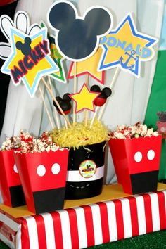 Make your popcorn boxes look like Mickey Mouse! Mickey Mouse Clubhouse Party via Kara's Party Ideas Kara'sPartyIdeas.com #MickeyMouse #MinnieMouse #PartyIdeas #Supplies #popcorn #boxes #party #favors