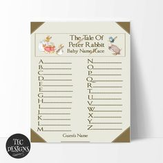 Beatrix Potter's Peter Rabbit Baby Shower Games and by TECDesigns