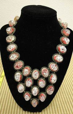 Antique Crackle Glass Necklace by MICSJWL on Etsy, $195.00