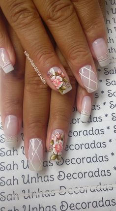 76 Modelos Lindos de Francesinhas com Flores! Veja: Spring Nails, Facebook, Flowers, Nail Art Designs, Nail Stickers, Pretty Nails, Nail Hacks, French Tips, Fingernail Designs
