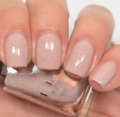 Birthday Suit - Cashmere Pink Holographic Nail Polish by ILNP Pink Holographic Nails, Natural Looking Nails, Gel Nail Colors, Cute Nail Colors, Pedicure Colors, Neutral Nails, Dark Nude Nails, White Sparkle Nails, Blush Nails