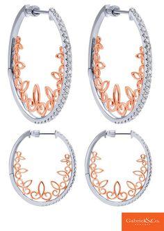 14k White/Pink Gold Diamond Intricate Hoop Earrings by Gabriel & Co.