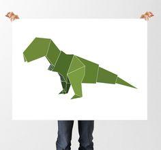 Nursery Dinosaur Print, Geometric Origami Art, Printable Wall Art, Instant Download, Green Dino Art, Childrens Bedroom Decor, Baby Boy by tothewoodside on Etsy