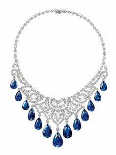Harry Winston , collier biennale en platine , diamant et 146 , 71 carats de saphir Sapphire Necklace, Sapphire Jewelry, Sapphire Gemstone, Drop Necklace, Diamond Jewelry, Diamond Necklaces, Jewelry Necklaces, Sapphire Rings, Ruby Rings