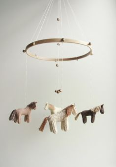 Baby  nursery mobile - baby crib mobile - horses mobile - brown shades -  DREEMS RIDER- baby gift - made to order