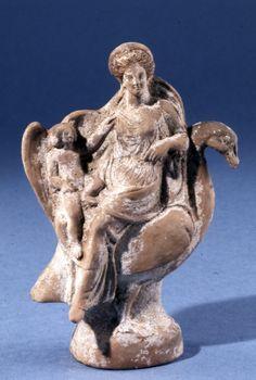 Aphrodite (Venus) and Eros (Cupid) on a goose, Greek statuette (terracotta), 4th…
