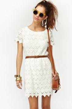 Belted Crochet Dress